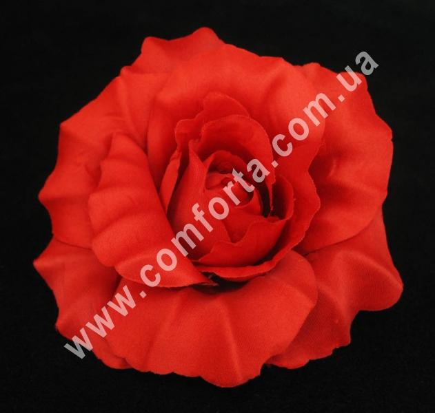 искусственная головка розы, диаметр - 11 см, цвет - красный