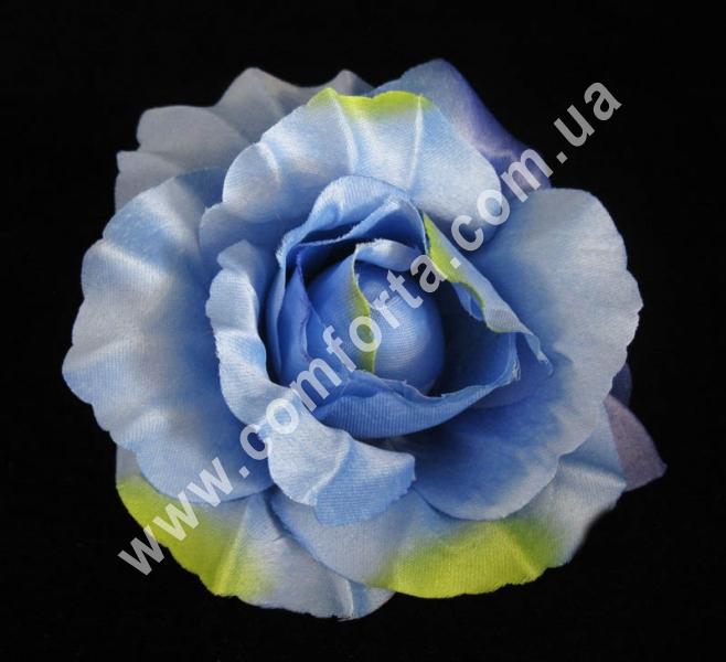 головка розы голубая, диаметр - 11 см, материал - ткань