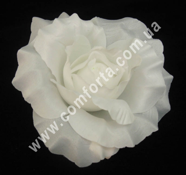 искусственная головка розы, диаметр - 11 см, цвет - белый