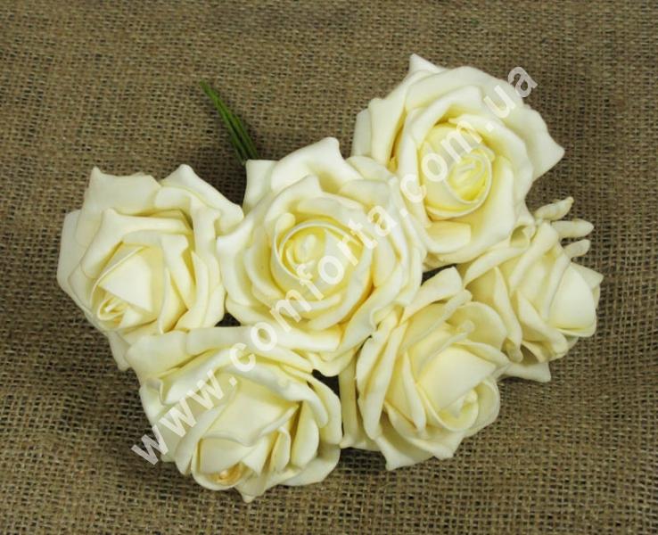 Букет роз из латекса (12 шт), высота - 25 см, цвет - бежевый