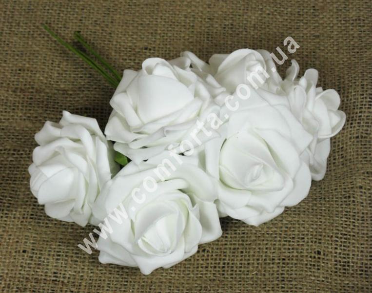 Букет роз из латекса (6шт), высота - 20 см, цвет - белый