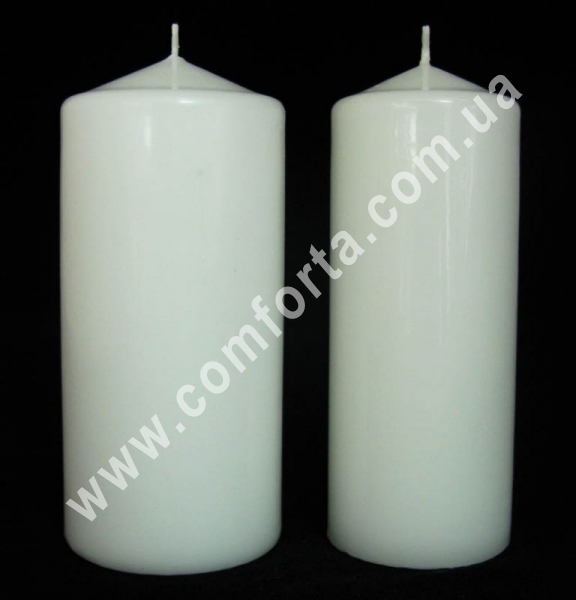 свеча классическая белая, цилиндр, высота - 15 см, диаметр - 7 см