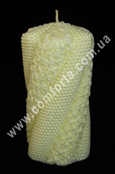 свадебная свеча семейный очаг Волна жемчуг с розами, высота - 15 см, диаметр - 7 см, цвет - кремовый