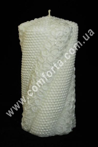 свадебная свеча семейный очаг Волна жемчуг с розами, высота - 15 см, диаметр - 7 см, цвет - белый