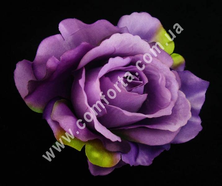 искусственная головка розы, диаметр - 11 см, цвет - фиолетовый