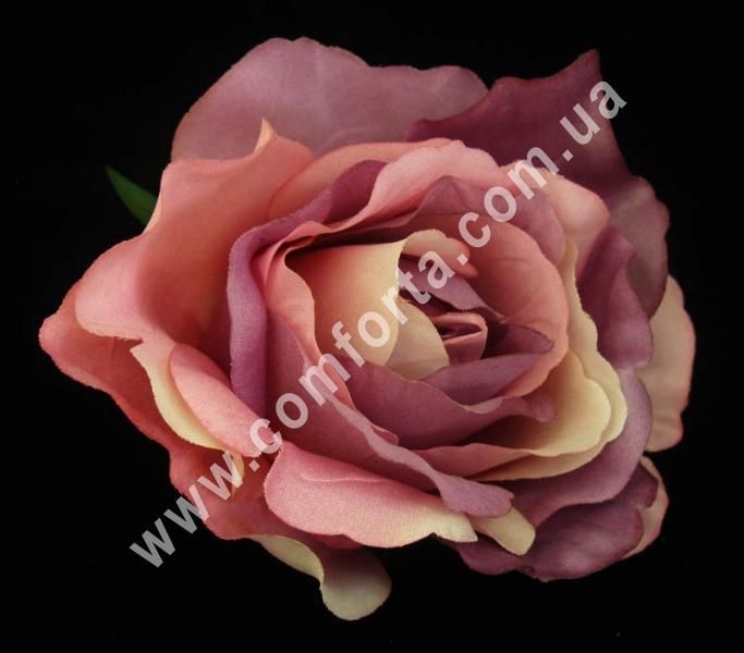 искусственная головка розы, диаметр - 11 см, цвет - сиренево-розовый
