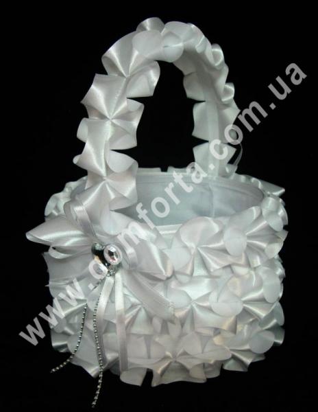 Рюш, корзинка для лепестков, материал - атлас, размеры - 27 х 21 см, цвет - белый