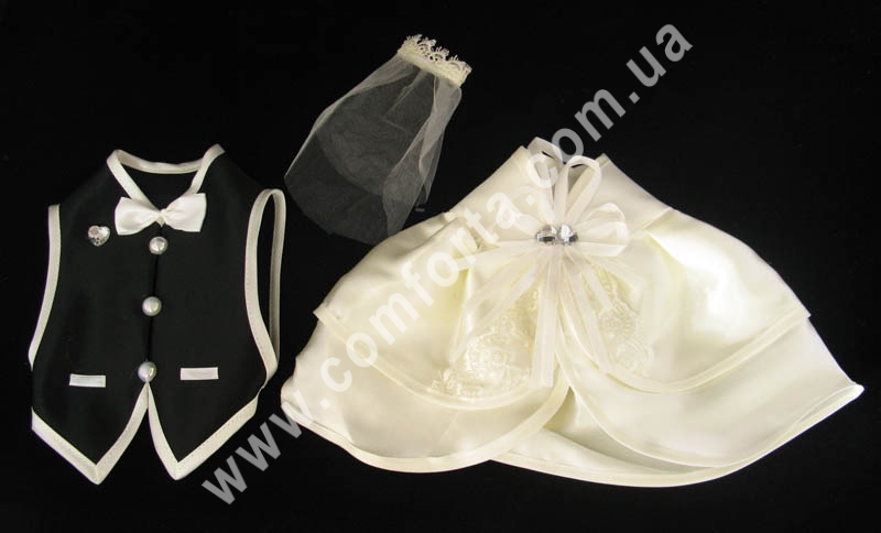 набор костюмов жениха и невесты для шампанского, кремово-черный цвет, материал - атлас и акрил
