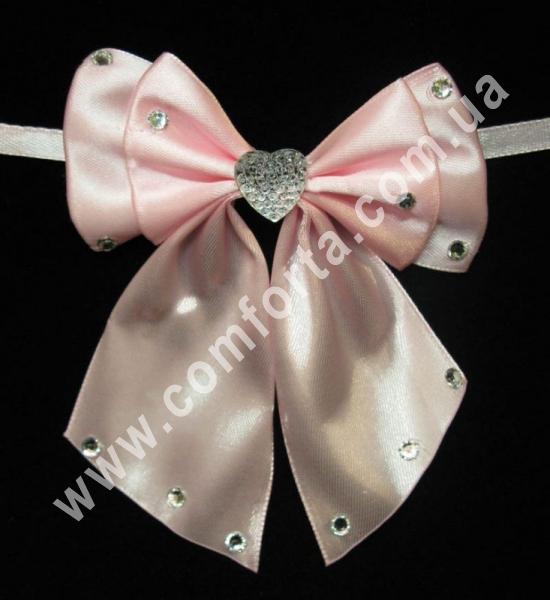 свадебный декор, бантики с завязкой, ширина - 11,5 см, длина - 10 см, цвет - розовый