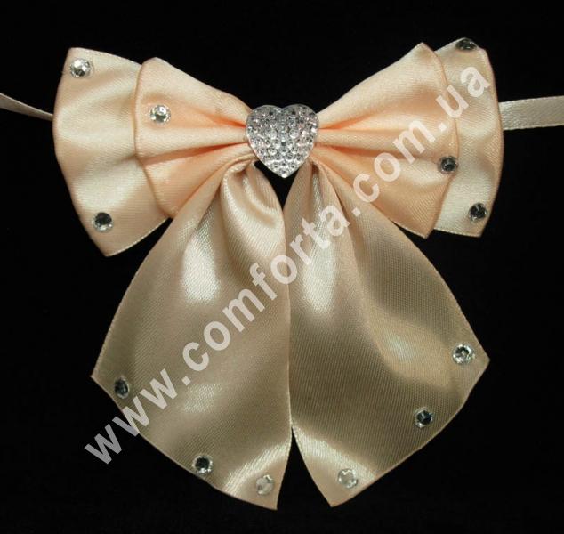 свадебный декор, бантики с завязкой, ширина - 11,5 см, длина - 10 см, цвет - персиковый