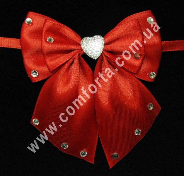 свадебный декор, бантики с завязкой, ширина - 11,5 см, длина - 10 см, цвет - красный
