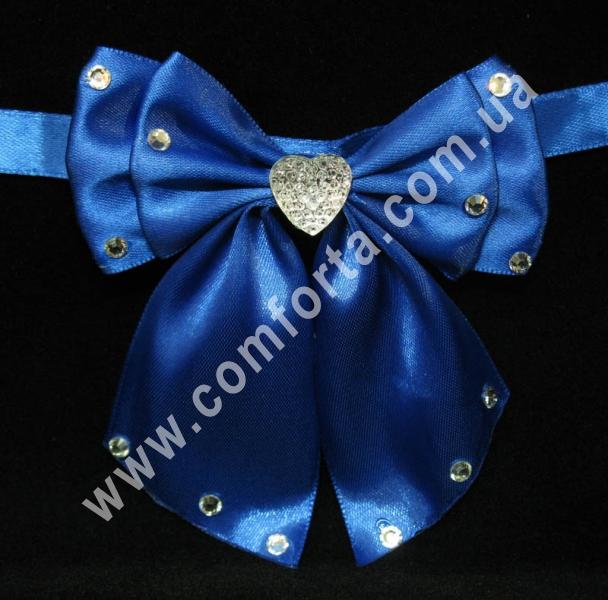 свадебный декор, бантики с завязкой, ширина - 11,5 см, длина - 10 см, цвет - синий