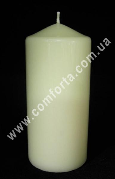 свеча классическая кремовая, цилиндр, высота - 15 см, диаметр - 7 см