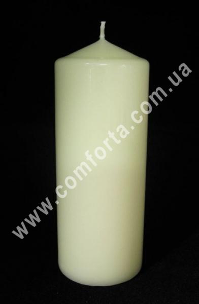 свеча классическая кремовая, цилиндр, высота - 15 см, диаметр - 6 см