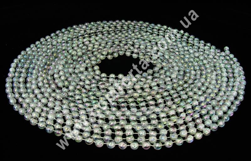 декоративные бусы прозрачные, диаметр бусины - 10 мм, длина - 10 м
