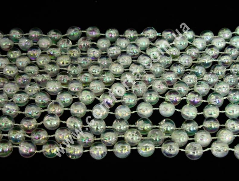 декоративные прозрачные бусы, диаметр бусины - 10мм, длина - 10 м