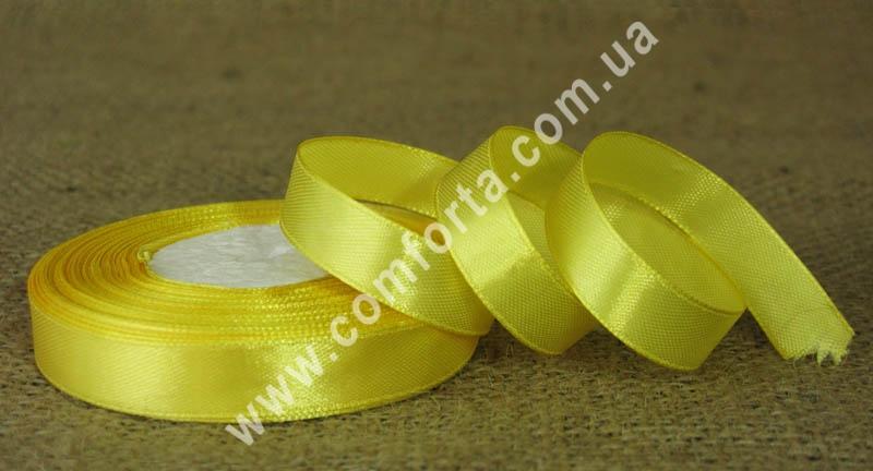 лента атласная желтая в рулоне, ширина - 1,2 см, длина - 23 м