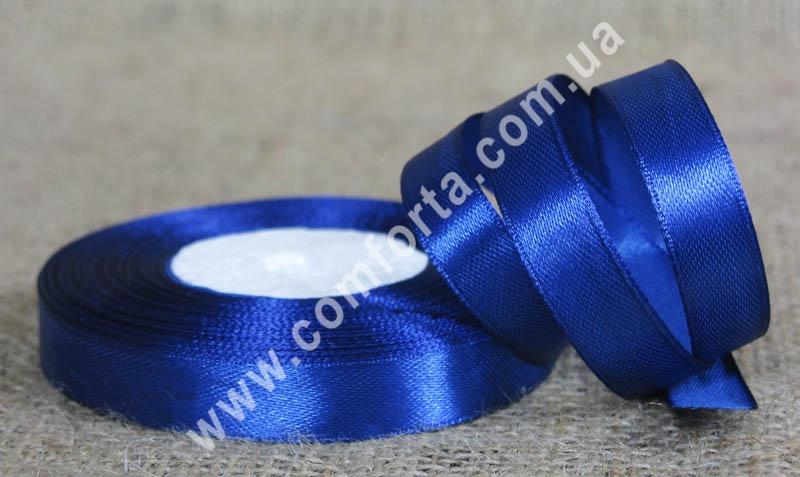 лента атласная синяя в рулоне, ширина - 1,2 см, длина - 23 м