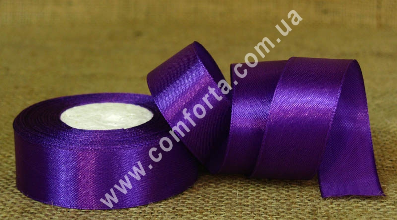 лента атласная фиолетовая в рулоне, ширина - 2,5 см, длина - 23 м