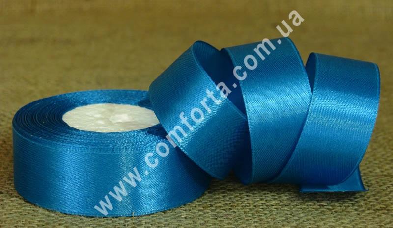 лента атласная светло-синяя в рулоне, ширина - 2,5 см, длина - 23 см