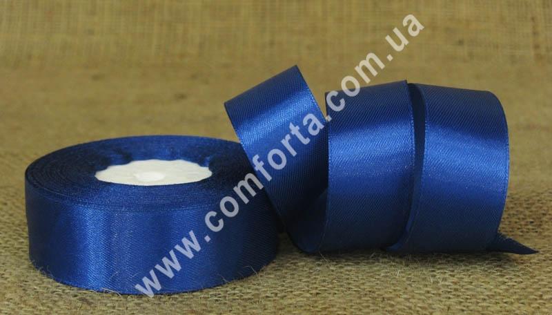 лента атласная синня в рулоне,ширина - 2,5 см, длина - 23 см