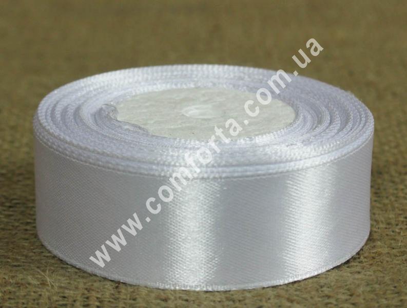 лента атласная белая в рулоне, ширина - 2.5 см, длина - 23 м