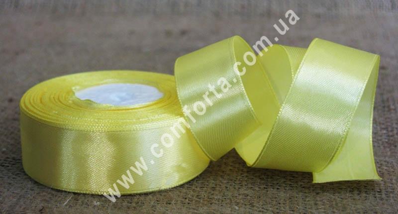 лента атласная желтая в рулоне, ширина - 2,5 см, длина - 23 м