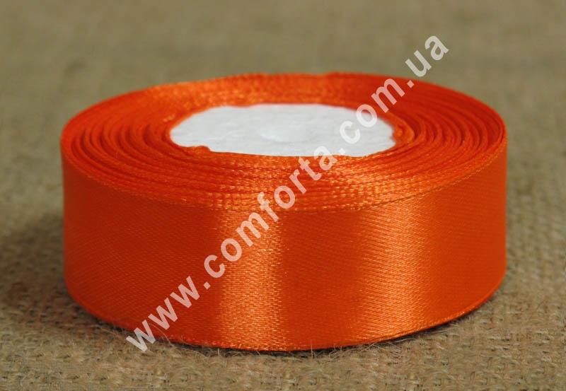 лента атласная оранжевая в рулоне, ширина - 2.5 см, длина - 23 м