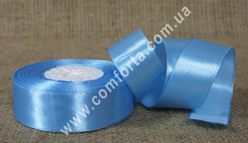 лента атласная голубая в рулоне, ширина - 2,5 см, длина - 23 м