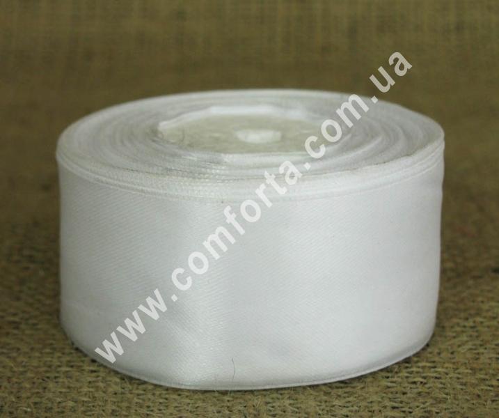 лента атласная белая в рулоне, ширина - 4 см, длина - 23 м