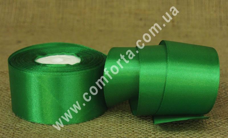 лента атласная зеленая в рулоне, ширина - 4 см, длина - 23 м
