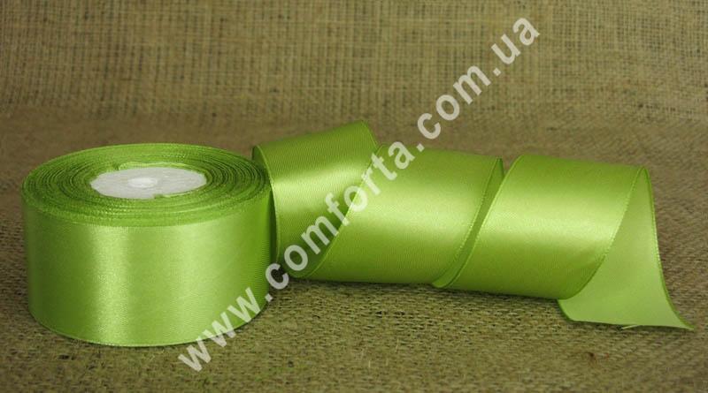 лента атласная оливковая в рулоне, ширина - 4 см, длина - 23 м