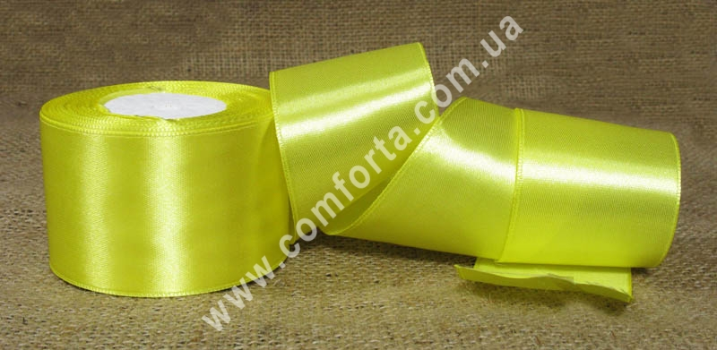 лента атласная желтая в рулоне, ширина - 5 см, длина - 23 м
