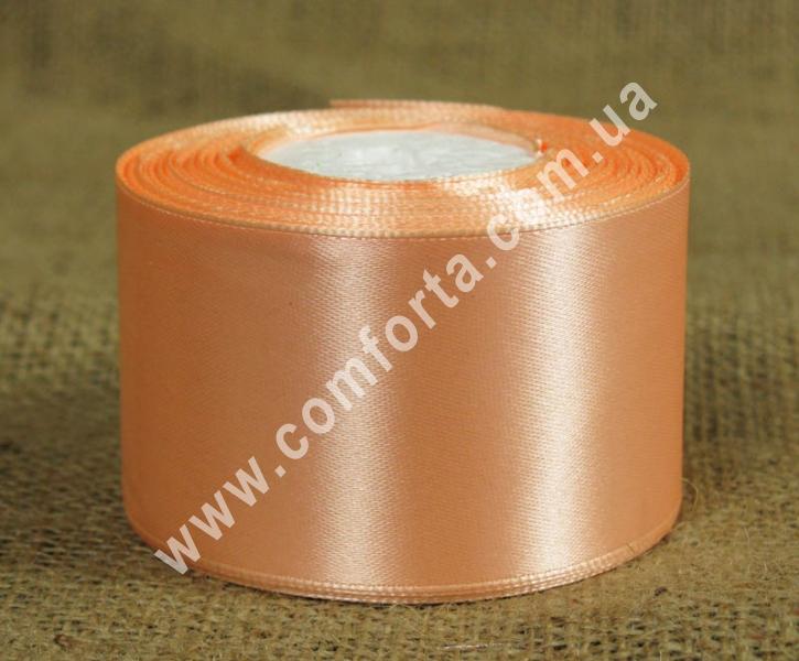 лента атласная персиковая в рулоне, ширина - 5 см, длина - 23 м