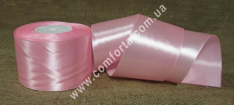 лента атласная розовая в рулоне, ширина - 5 см, длина - 23 м