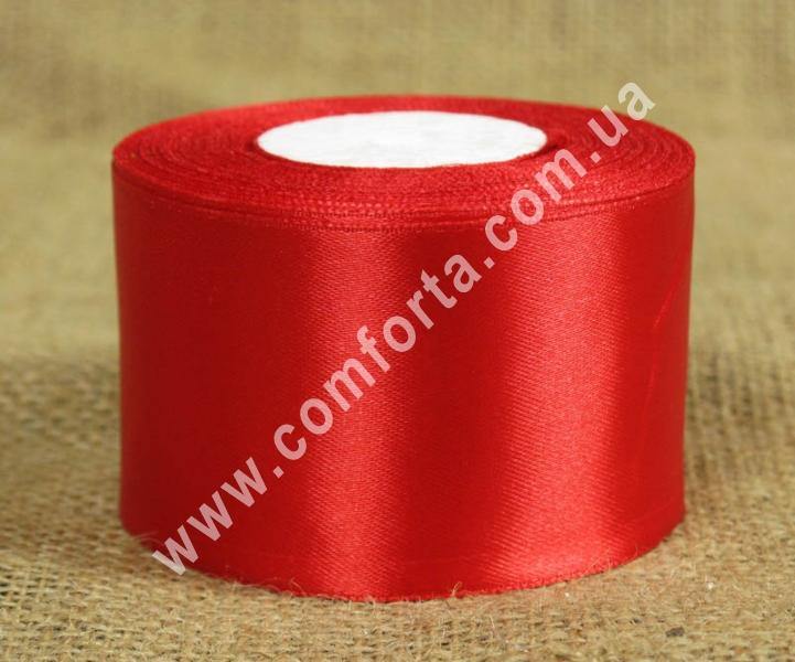 лента атласная красная в рулоне, ширина - 5 см, длина - 23 м
