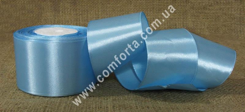 лента атласная голубая в рулоне, ширина - 5 см, длина - 23 м