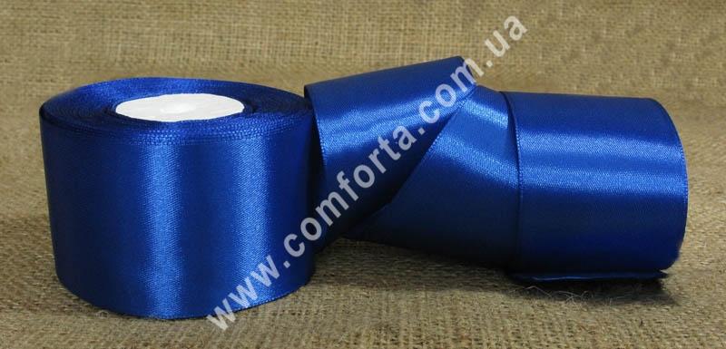 лента атласная синяя в рулоне, ширина - 5 см, длина - 23 м
