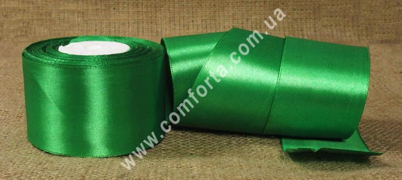 лента атласная зеленая в рулоне, ширина - 5 см, длина - 23 м