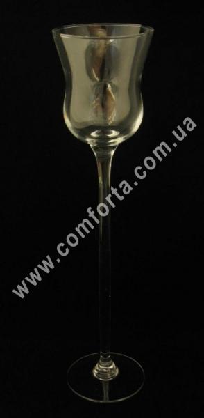 подсвечник стеклянный на высокой ножке, высота - 40 см, диаметр - 9,5 см