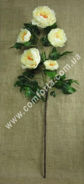 ветка пиона из 5 головок, кремовая, высота - 120 см, диаметр - 12 см