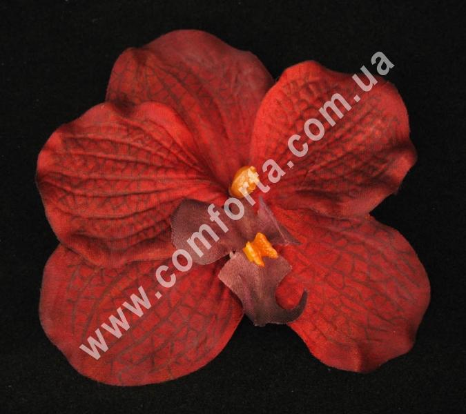 искусственная головка орхидеи, диаметр - 11 см, цвет - бордовый