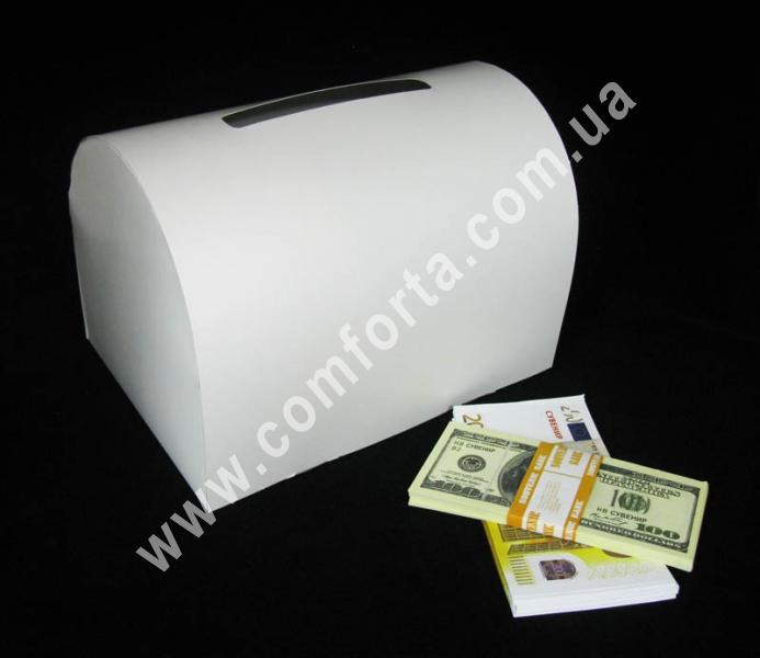 заготовка сундучка для денег, белая, размеры - 25,5 x 17,5 x 18 см