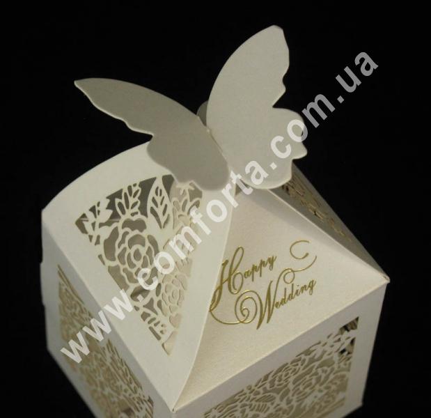 коробочка для конфет, размеры - 6 см х 6 см х 10 см, материал - картон