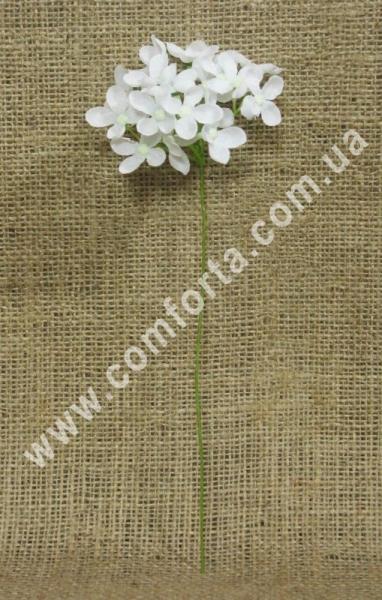 букетик мелкой гортензии, белая, высота - 25 см, ширина - 9 см, материал - ткань, пластик
