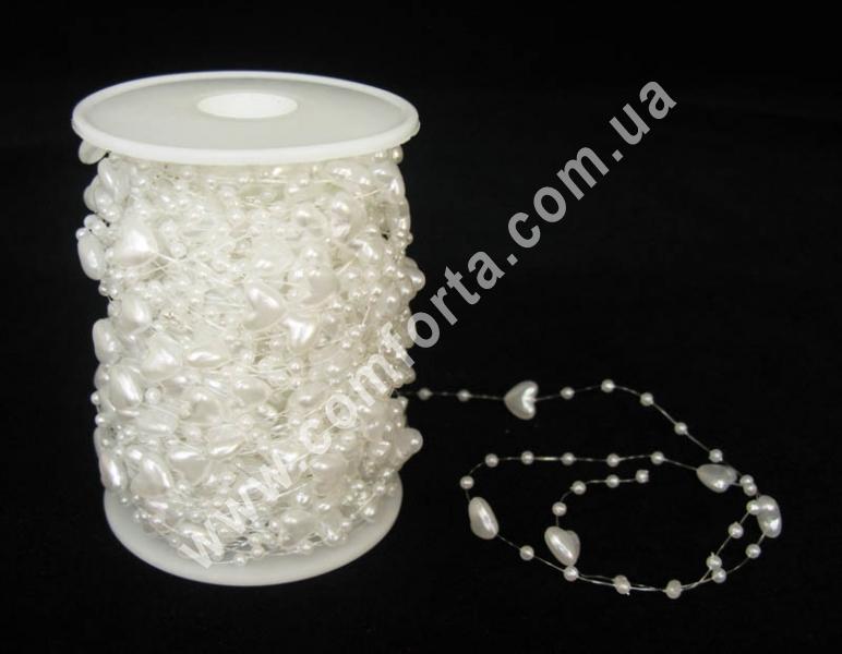 декоративные бусы перламутровые, белые, диаметр бусин 3 мм и 10 мм, материал - пластик