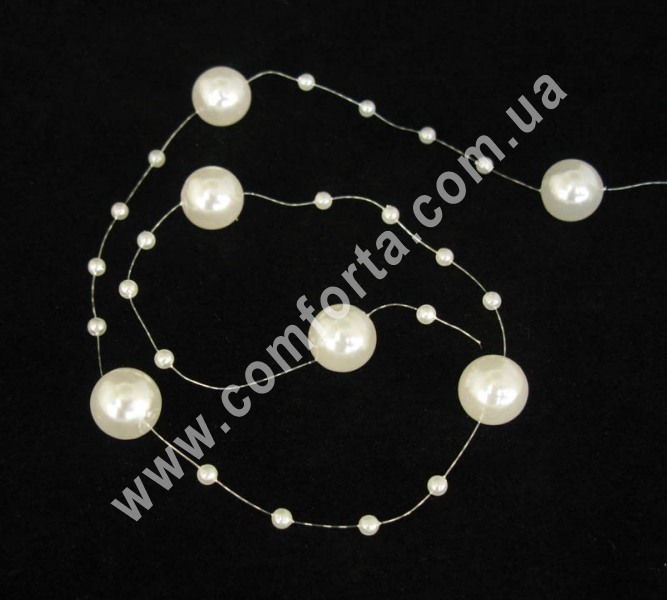 декоративные бусы перламутровые, белые, диаметр бусин 4 мм и 14 мм, материал - пластик