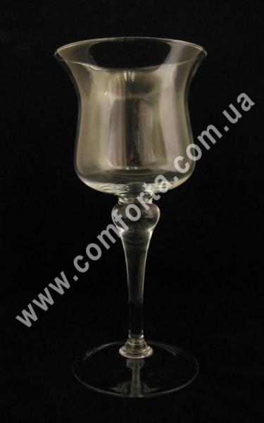 подсвечник стеклянный на высокой ножке, высота - 34 см, диаметр - 15 см