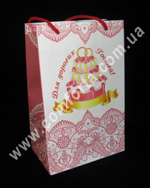 пакет для свадебного каравая, размеры ~ 22,5 х 14,5 х 9 см