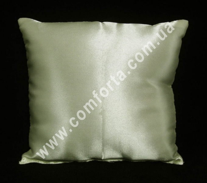 кремовая заготовка подушечки для колец на свадьбу, высота - 16 см, ширина - 16 см, материал - атлас